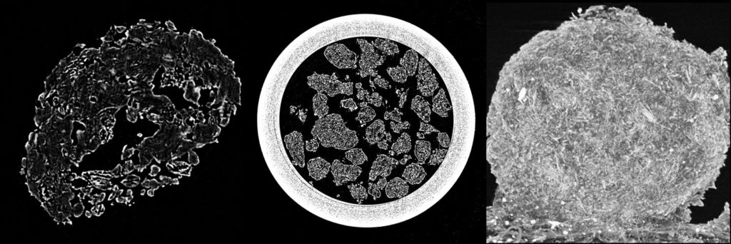 CT scans of granules showing their inner structure