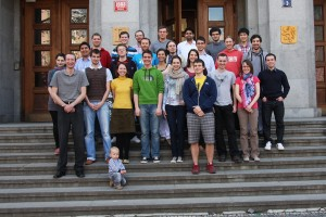 Our Chobotix group photo infornt of the ICT Prague building (2012)